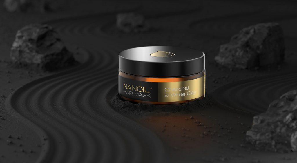 maska na włosy nanoil z węglem i białą glinką